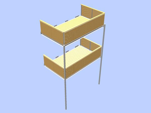 Planung, Herstellung und Montage eines feuerverzinkten Balkons.